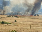 Mott Road fire from High Prairie Road by Margaret Randall - 3