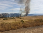 Mott Road fire from High Prairie Road by Margaret Randall - 5