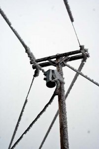 The culprit—ice buildup on power lines 2 days prior to incident. Photo: Jake Jakabosky