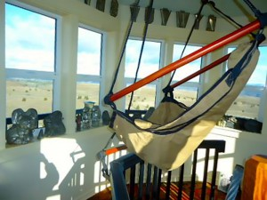 "One of the unique features of the castle is the ""aerie"" in the tower, with 360-degree views and two comfortable hammock chairs."