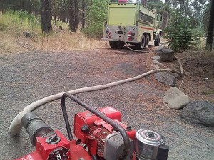 New HPFD tender, pumping water from creek. Photo: Dave Thom