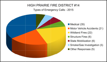 Types of Calls pie chart - 2015
